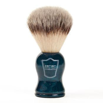 Parker Safety Razor Synthetic Bristle Shaving Brush with Blue Wood Handle