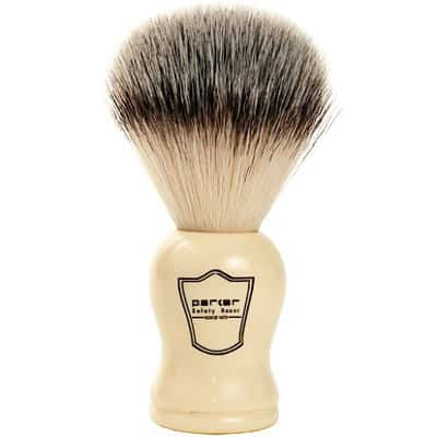 Parker Safety Razor Synthetic Bristle Shaving Brush With White Handle