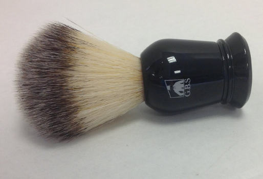 GBS Synthetic Black Handle Shaving Brush with Black Stand