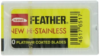 Feather Hi-Stainless Platinum Double Edge Razor Blades 50 Counts