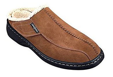 Orthofeet Asheville Men's Orthopedic Leather Slippers with Arch Support