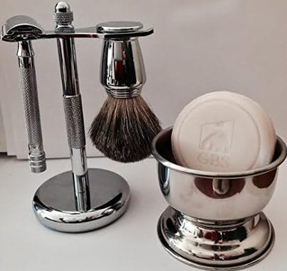 Shaving Gift Set with Merkur Safety Razor, Bowl, GBS soap, Badger brush