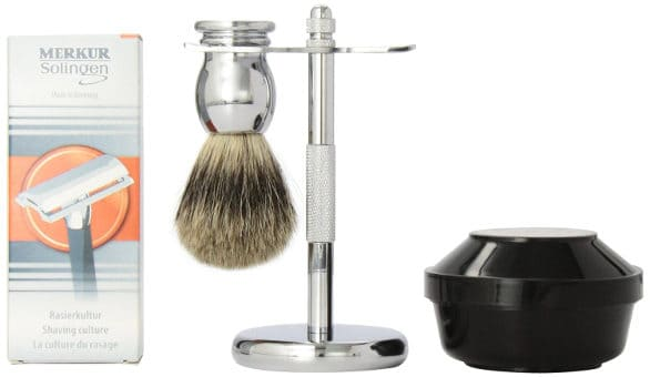 Simply Beautiful Shaving Gift Set with Merkur Razor, Stand, Brush and Omega Soap