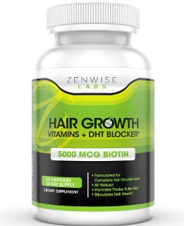 Zenwise Labs Hair Growth Vitamin Supplements 5000mcg of Biotin and DHT Blocker