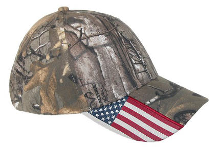 Realtree Xtra Unisex Camo and American Flag Cap