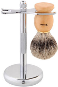 Fento Badger Hair Shaving Brush and Chrome Razor Stand Shaving Set