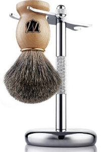 Miusco Badger Hair Shaving Brush and Chrome Stand