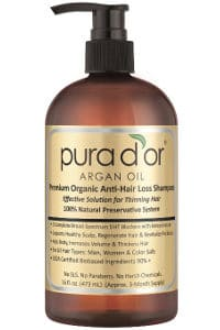 Pura d'Or Premium Organic Argan Oil Anti-Hair Loss Shampoo (Gold Label) new