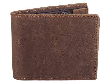 Polare Men's Cowboy Genuine Natural Crazy Horse Leather Bifold Wallet