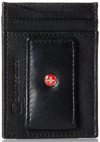 Alpine Swiss Genuine Leather Money Clip Front Pocket Wallet with Magnetic Clip and ID Case