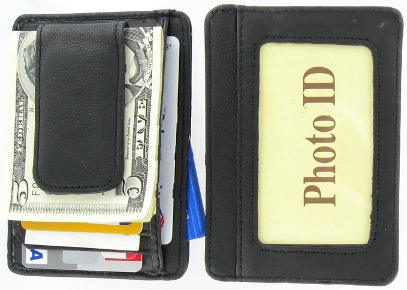 Value On Style Printed Grain Cowhide Leather Money Clip with Magnet