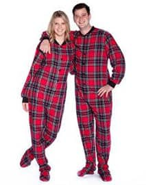 Big Feet PJs Red & Black Plaid Cotton Flannel Adult Footie Footed Pajamas