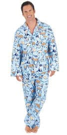 Blue Cotton Flannel Dog Tired Pajamas for Men