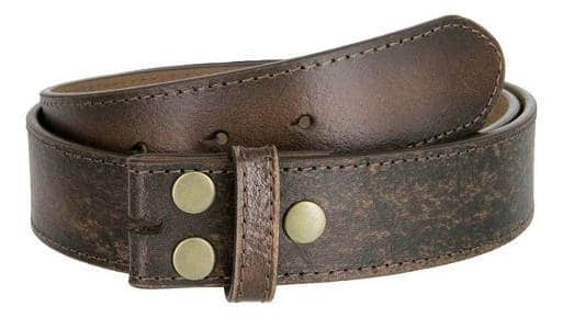 Men's Vintage Look Distressed Leather Strap Belt Snap On