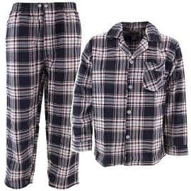 Navy Blue Plaid Men's Flannel Pajamas
