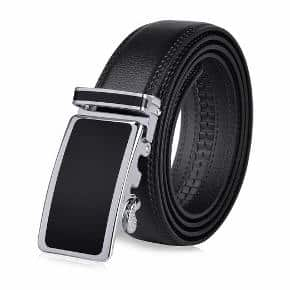 Vbiger Men's Leather Belt Sliding Buckle 35mm Ratchet Belt Black