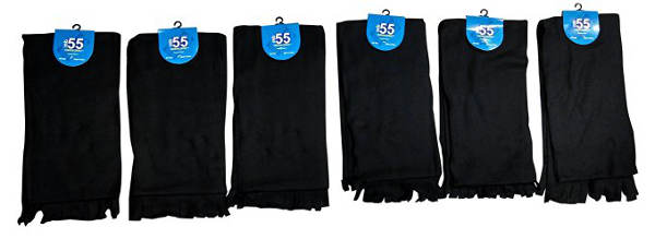 6 Piece Solid Black Color Warm Winter Fleece Scarfs