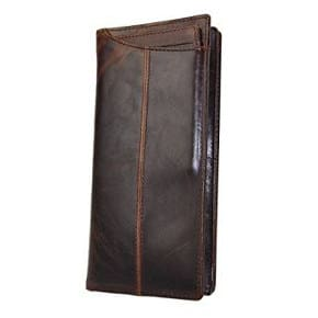 Le'aokuu Mens Genuine Leather Bifold Wallet Organizer Checkbook Cardcase