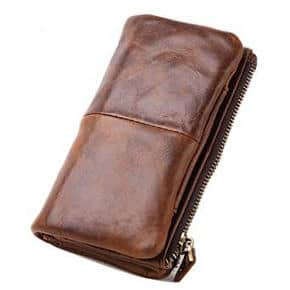 Le'aokuu Mens Genuine Leather Vintage Wallet Organizer Checkbook Card Cover