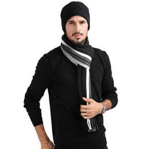 Mansy Men´s Classic Cashmere Shawl Winter Warm Long Fringe Striped Tassel Scarf