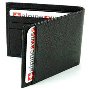 Alpine Swiss Men's Genuine Leather Thin Slimfold Wallet