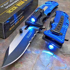 Tac-Force Blue Open LED Tactical Rescue Pocket Knife
