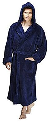 Arus Men's Hooded Fleece Bathrobe