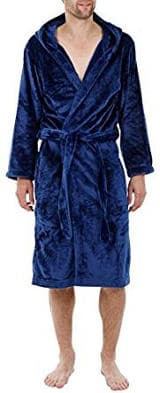 John Christian Hooded Velour Fleece Robe