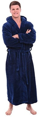 Del Rossa Men's Fleece Robe/Long Hooded Bathrobe