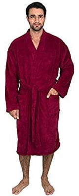 TowelSelections Men's Plush Fleece Kimono Spa Bathrobe
