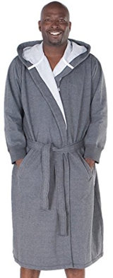 Del Rossa Men's Cotton Sweatshirt Style Hooded Bathrobe