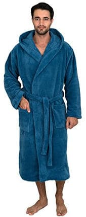 TowelSelections Men's Plush Fleece Hooded Spa Bathrobe