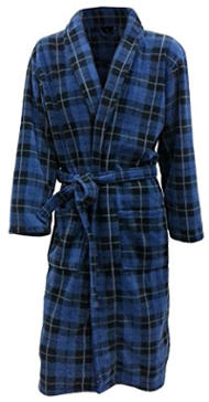John Christian Men's Fleece Robe (Blue Tartan)