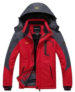 Wantdo Men's Mountain Waterproof & Windproof Fleece Ski and Rain Jacket