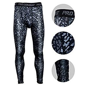 BeneU Men's Camouflage Sports Running Basketball Compression Tight Leggings
