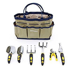 SONGMICS 7 Piece Garden Tool Set-Includes Garden Tote and 6 Hand Tools