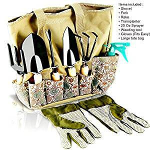 ScuddlesHeavy Duty Gardening Tool Set and Garden Storage Tote Bag Organizer with Wooden Handle