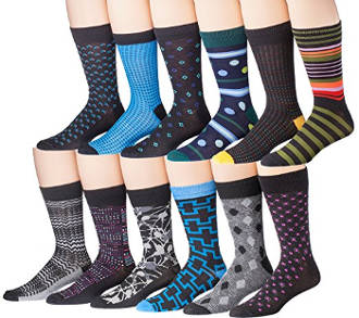 James Fiallo Men's 12 Pack Patterned Dress Socks