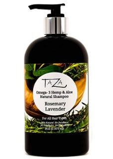 Premium Taza Natural Shampoo with Omega-3, Hemp, Aloe, Rosemary & Lavender