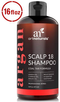 Therapeutic anti-dandruff shampoo with coal tar and argan oil